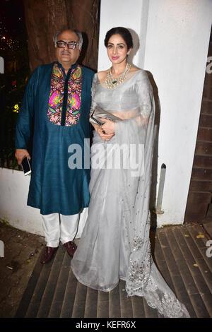 Mumbai, India. 20th Oct, 2017. Indian film producer Bony Kapoor with wife Sridevi attend the Aamir Khan's Diwali - Stock Photo