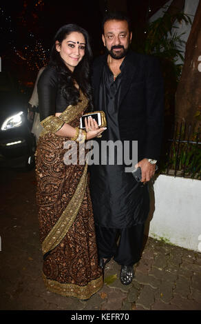 Mumbai, India. 20th Oct, 2017. Indian film actor Sanjay Dutt with wife Manyata Dutt attend the Aamir Khan's Diwali - Stock Photo