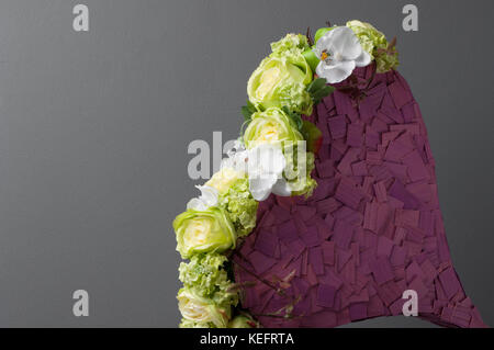 composition in the form of heart from white roses on a gray background. Valentine's Day - Stock Photo