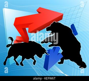 Bears Versus Bulls Stock Market Concept - Stock Photo