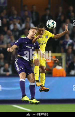 Anderlecht, Belgium. 18 October 2017.  Marquinhios  (Paris Saint Germain)   during the match of Champions League - Stock Photo