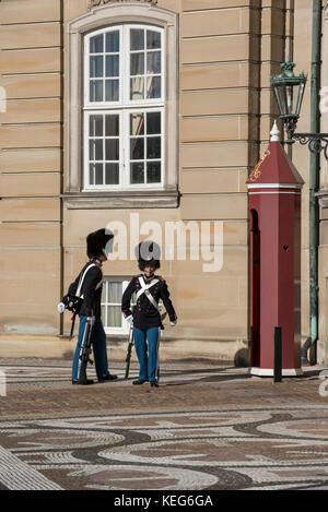 Changing of guard ceremony, Amalienborg Palace,  Copenhagen, Denmark - Stock Photo