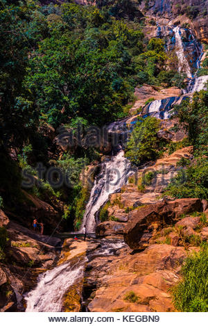 Rawana Falls, near Ella, Uva Province, Sri Lanka. - Stock Photo