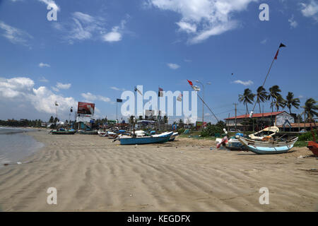 Unawatuna Galle Southern Province Sri Lanka Fishing Boats on beach - Stock Photo