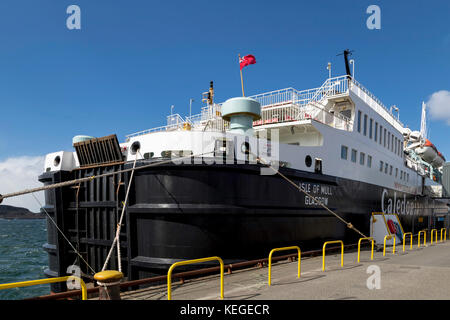A Caledonian MacBrayne ferry boat ( Isle of Mull crossing ), moored at the terminal in Oban, gateway to the Inner - Stock Photo