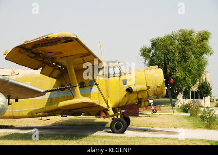 old biplane yellow color - Stock Photo
