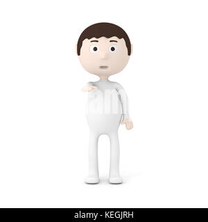 Cartoon Character Boy Pointing Finger at You - Stock Photo