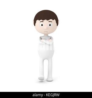 Cartoon Character Boy Thinking - Stock Photo
