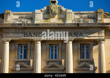 Bank of Spain, Banco de Espana, traditional architecture in the town of Haro in La Rioja province of Northern Spain - Stock Photo