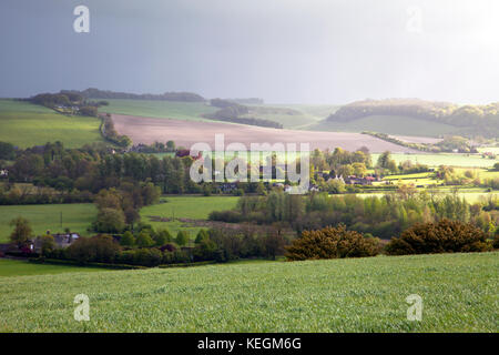 A view of the Wylye Valley at Upton Lovell in Wiltshire. - Stock Photo