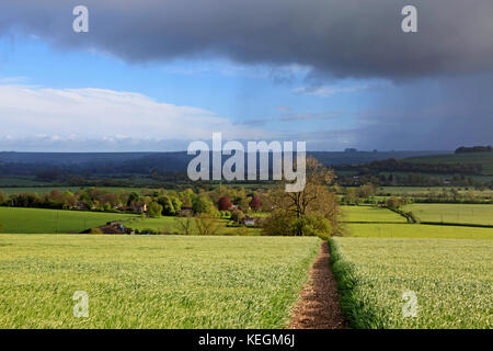 A view of the Wylye Valley at Corton in Wiltshire. - Stock Photo