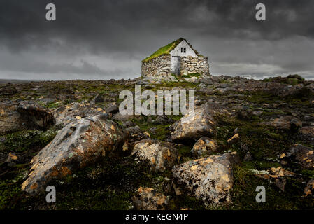 A tradionell shelter in the Westfjords of Iceland. - Stock Photo