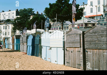 Beach Huts on Broadstairs seafront, on the Isle of Thanet, Kent, Southern England - Stock Photo
