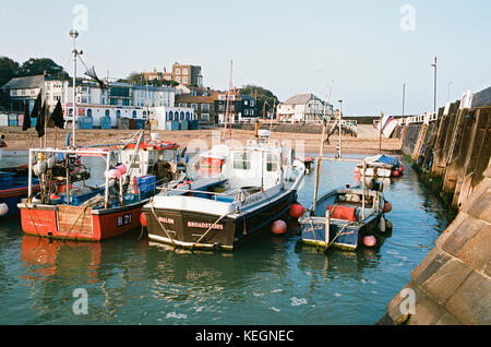Fishing Boats in Broadstairs Harbour, Isle of Thanet, East Kent, UK - Stock Photo