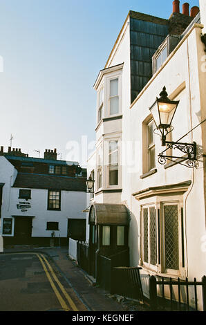 Historic houses on a narrow street in the seaside town of Broadstairs, East Kent, Southern England - Stock Photo