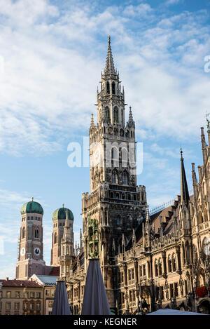 Marienplatz mit Rathhaus und Frauenkirche, Munich, Bavaria, Germany - Stock Photo