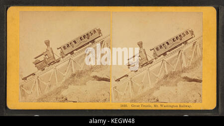Great Tresle, Mt. Washington Railway, by Kilburn Brothers - Stock Photo