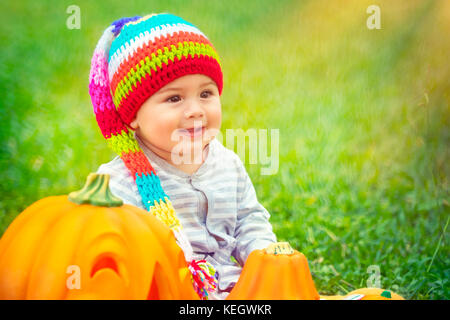 Little pretty child sitting on green grass field near two cute pumpkins with carved faces, playing with festive - Stock Photo