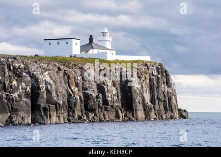 The Farne Lighthouse, Farne Islands, Inner Farne, Northumberland, North Sunderland - Stock Photo