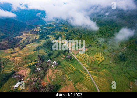 Beautiful landscape aerial view in cable car that going to Phan Xi Pang mountain in Lao Cai, Sapa, Vietnam - Stock Photo