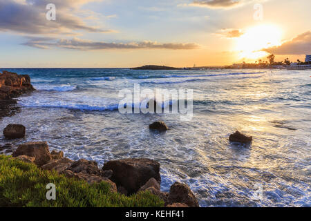 Nissi beach in Ayia Napa in stormy weather - Stock Photo