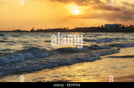 Nissi Beach in Ayia Napa at sunset of the day.Cyprus - Stock Photo
