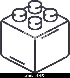 constructor bricks vector line icon, sign, illustration on background, editable strokes - Stock Photo