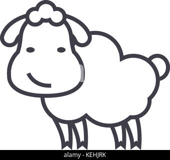 cute sheep vector line icon, sign, illustration on background, editable strokes - Stock Photo
