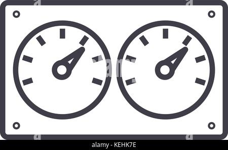 dual control meter  vector line icon, sign, illustration on background, editable strokes - Stock Photo