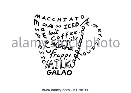 Typographic design using the names of several types of coffee beverages, illustration - Stock Photo