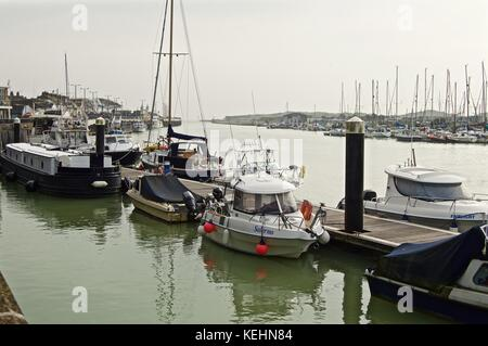Boats moored in River Arun, Littlehampton Harbour, UK - Stock Photo