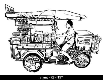 Bangkok, Thailand. street food tricycle - vector illustration - Stock Photo