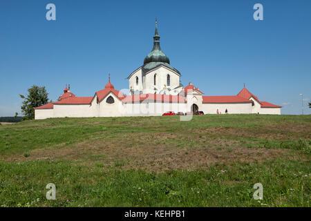 Pilgrimage Church of Saint John of Nepomuk (Poutní kostel svatého Jana Nepomuckého) at Zelená hora in Žďár nad Sázavou, - Stock Photo