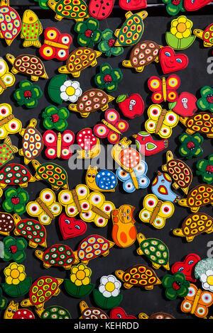Souvenir refrigerator magnets on sale in Olomouc, Czech Republic. - Stock Photo