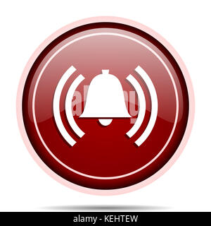 Alarm red glossy round web icon. Circle isolated internet button for webdesign and smartphone applications. - Stock Photo