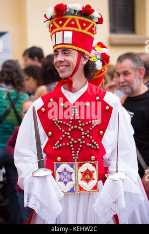 Male dancer at San Fermin Fiesta at Pamplona, Navarre, Northern Spain - Stock Photo