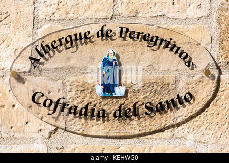Auberge hostel for pilgrims in Santo Domingo de La Calzada on the Way of St James pilgrim route Camino de Santiago - Stock Photo