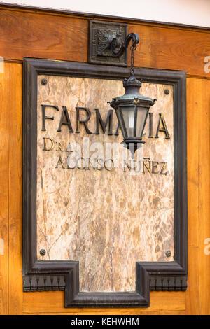 Farmacia Dr A Alonso Nunez in Calle Ancha street in Leon, Castilla y Leon, Spain - Stock Photo