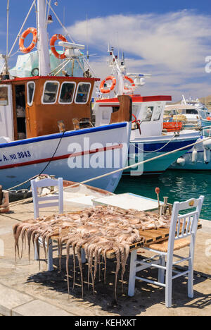 Octopuses drying in the sun in the port town of Naoussa on the island of Paros, Cyclades, Greece - Stock Photo