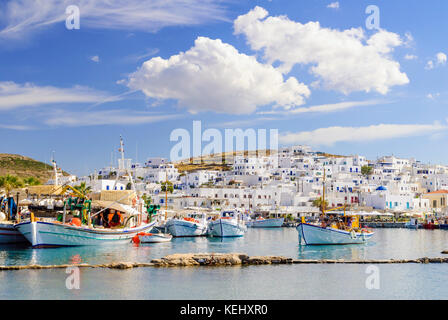 Fishing boats in the pretty port town of Naoussa on the island of Paros, Cyclades, Greece - Stock Photo