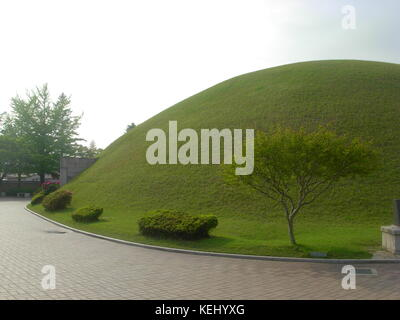 The Tumuli park belt with royal tombs in Gyeongju, South Korea - Stock Photo