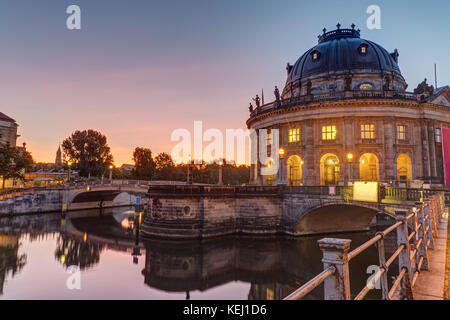 The Bode-Museum on the Museum Island in Berlin at sunrise - Stock Photo