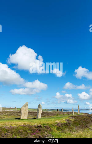 Ring of Brodgar, Orkney. Neolithic stone circle, dating from around 2000 to 2500 BC, Mainland, Orkney, Scotland, - Stock Photo
