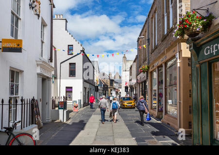 Shops on Albert Street in the town centre, Kirkwall, Mainland, Orkney, Orkney Islands, Scotland, UK - Stock Photo
