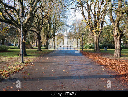 A view from Andrews Park towards the cenotaph in Southampton, UK. - Stock Photo