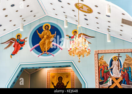 Silver Spring, USA - September 16, 2017: Inside interior St. Andrew Ukrainian orthodox cathedral near Washington - Stock Photo