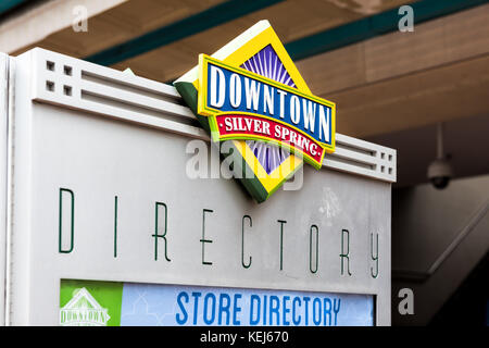 Silver Spring, USA - September 16, 2017: Downtown area of city in Maryland with closeup of large sign on shopping - Stock Photo