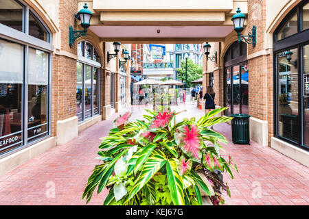 Silver Spring, USA - September 16, 2017: Downtown area of city in Maryland with shopping mall brick pathway and - Stock Photo