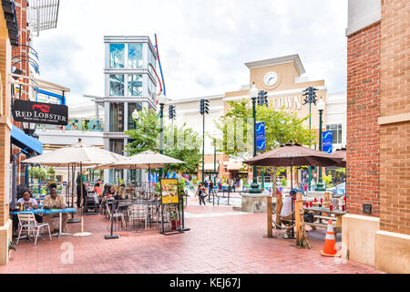 Silver Spring, USA - September 16, 2017: Downtown area of city in Maryland with shopping mall, restaurants and shops - Stock Photo