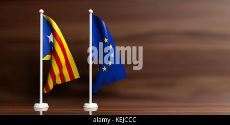 Catalonia and European Union relations. Catalonia and European Union miniature flags, wooden background. 3d illustration - Stock Photo